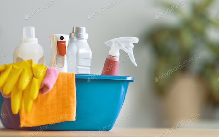 Basket with cleaning items