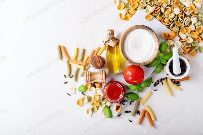 Raw ingredients for cooking: Italian penne pasta