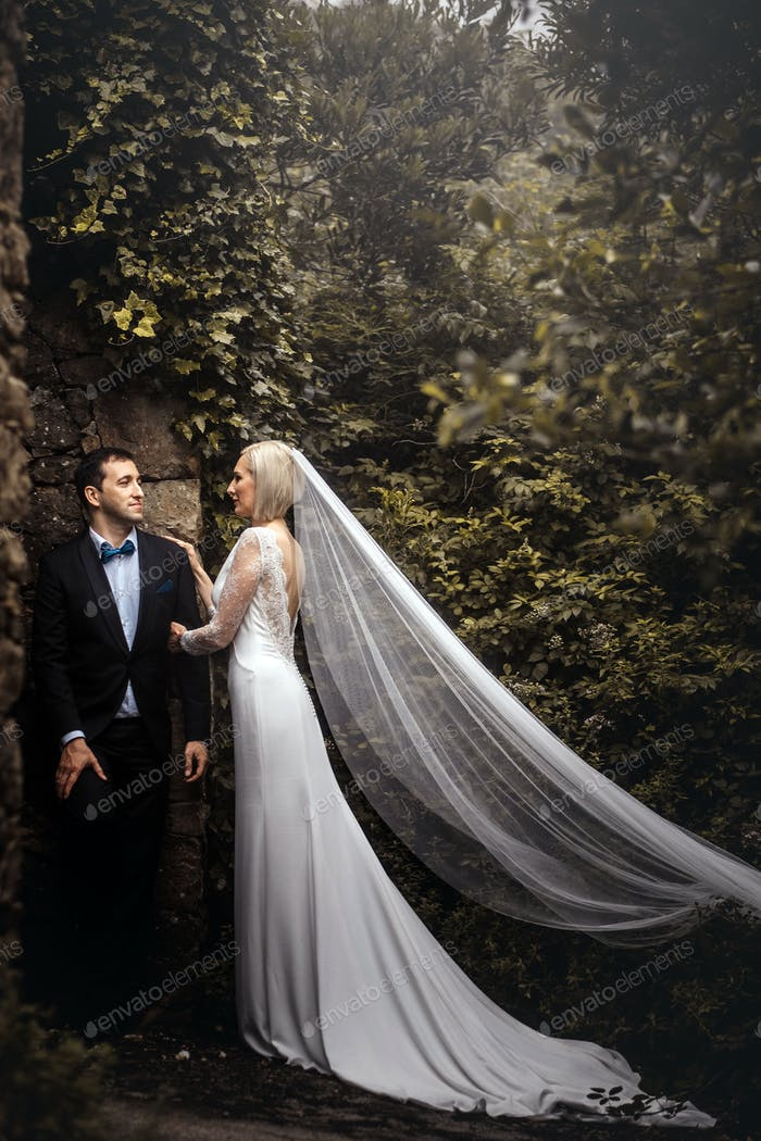 Lovely couple of newlyweds - bride and groom hugging at a beautiful mystery forest.