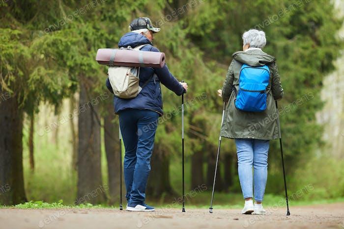 Active Senior Couple Enjoying Walk in Forest
