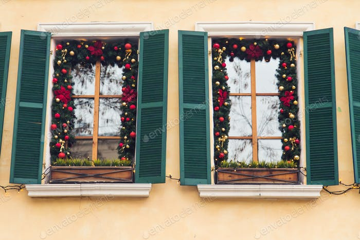 Beautiful holiday windows decorated for Christmas