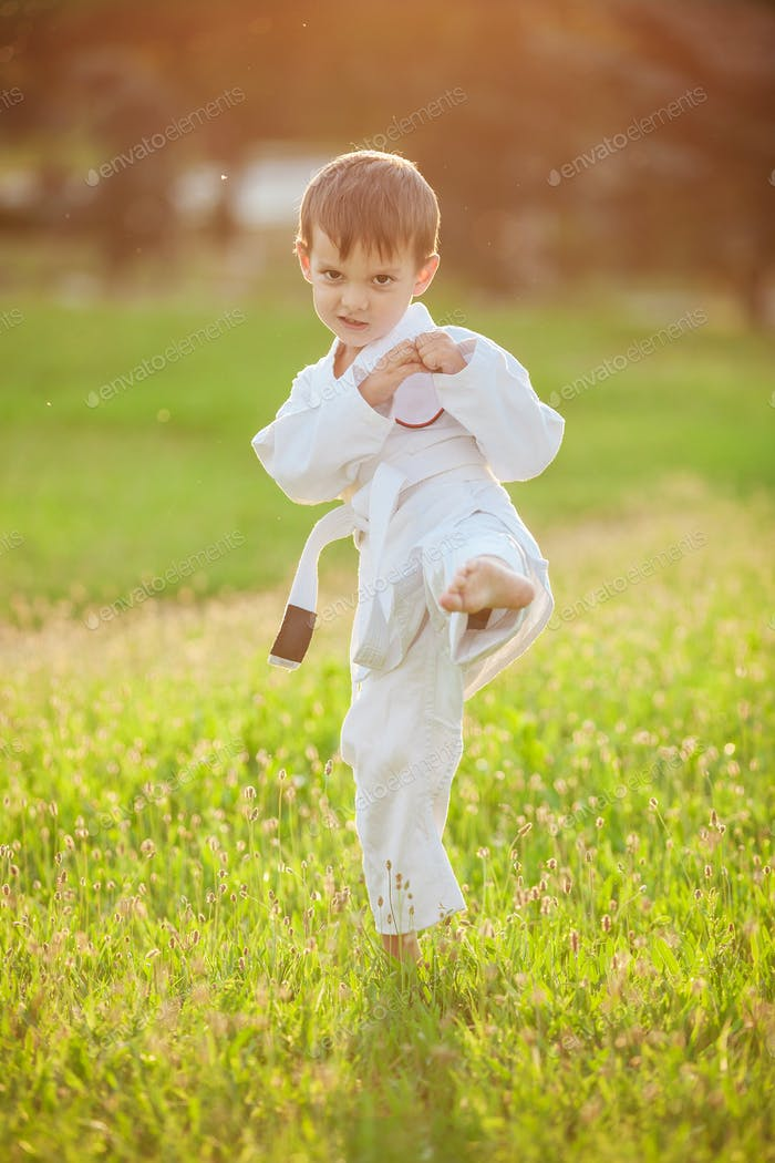 Preschool boy practicing karate outdoors