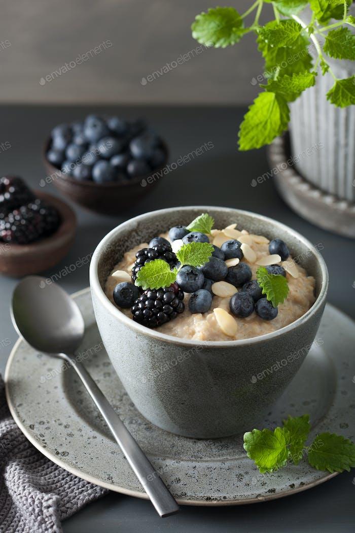 healthy breakfast steel cut oatmeal porridge with blueberry blac