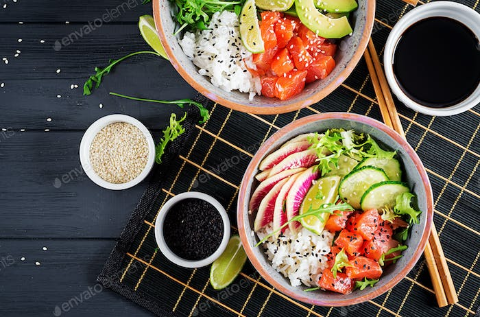 Hawaiian salmon fish poke bowl