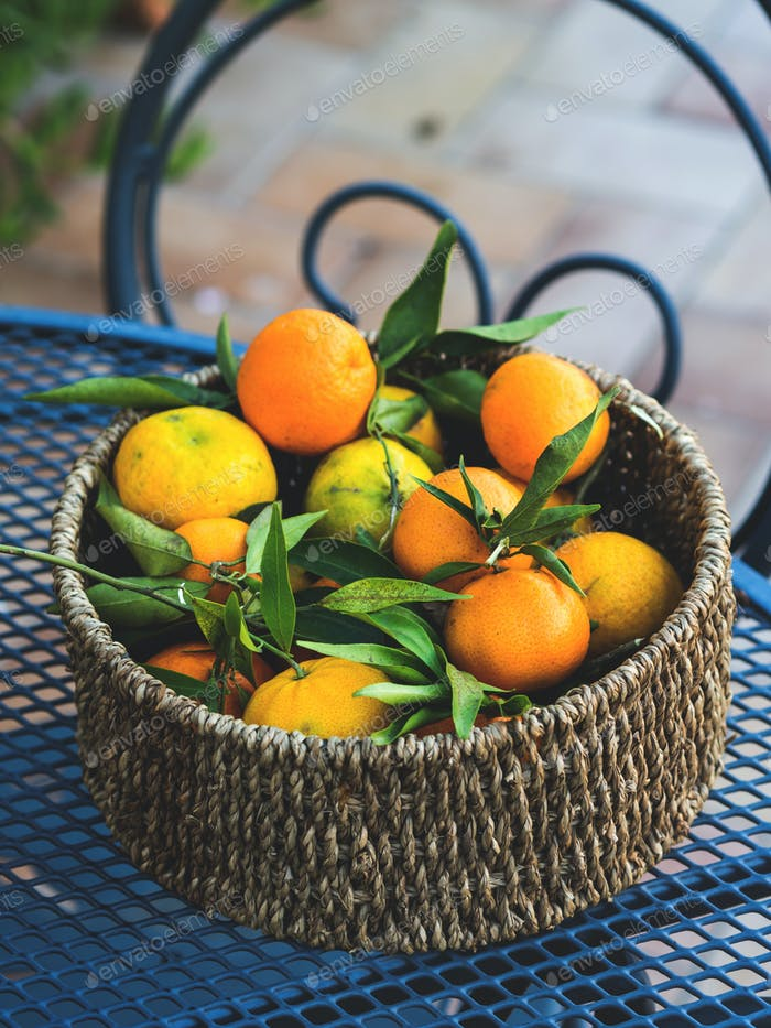 Italienische frische Mandarinen im Korb