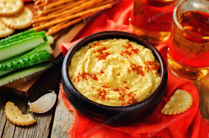 Pumpkin chickpeas hummus with paprika