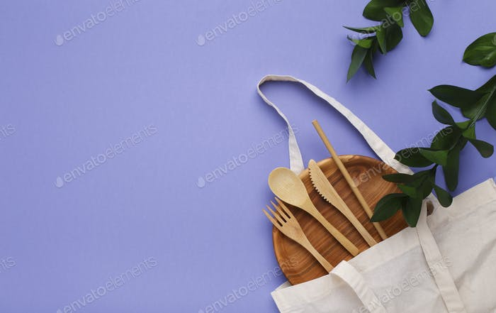 Eco-friendly plate, cutlery and cotton eco bag