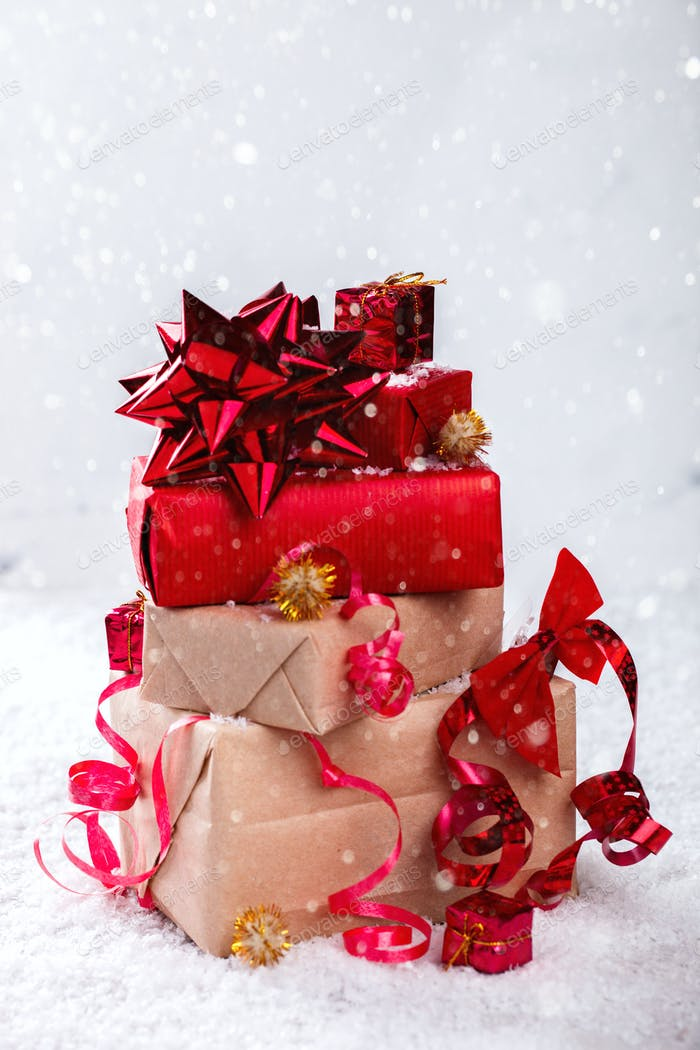 Christmas Gifts in Red and beige Boxes