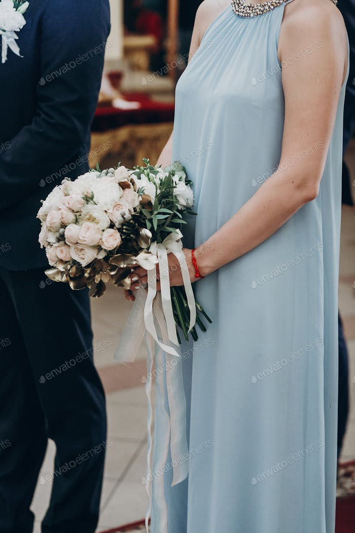 luxury wedding bouquet in bridesmaid hands