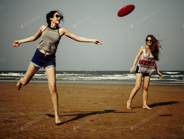 Frisbee Beach Chill Coast Summer Female Girl Concept