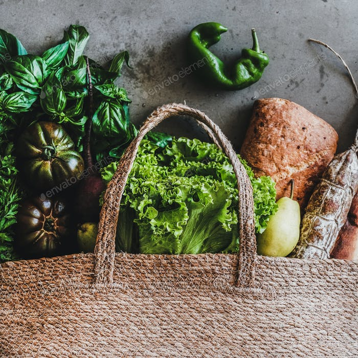 Flat-lay of healthy shopping bag with fresh ingredients, square crop
