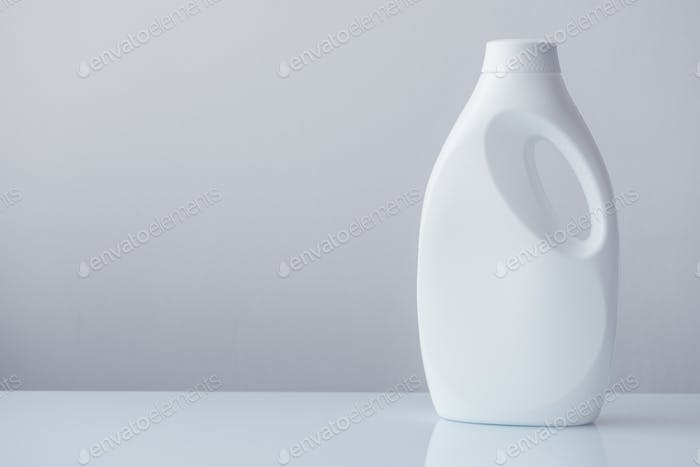 White plastic bottle container for liquid detergent