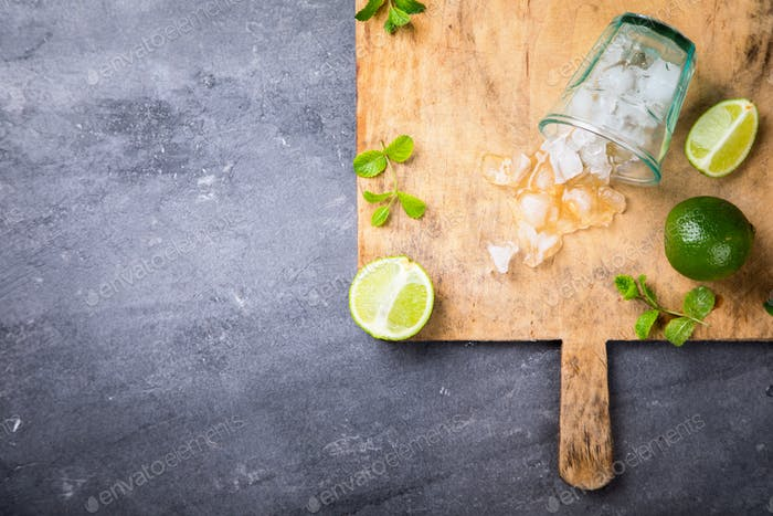 Mint, lime, ice ingredients for making.Cold Drink