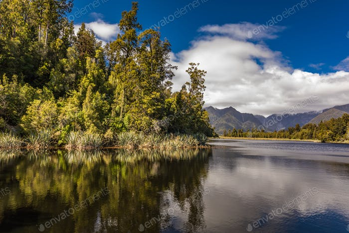 Reflection of mountains in the lake Matheson, New Zealand, Fox G