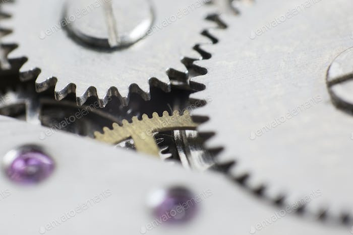 Macro detail of the gears ​​in the mechanism of a wristwatc