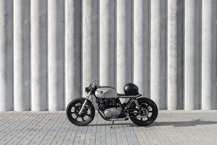 Motocycle with helmet on it