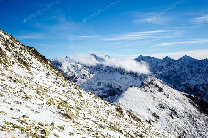 Mountains inspirational landscape view, sunny day in Tatra Mount