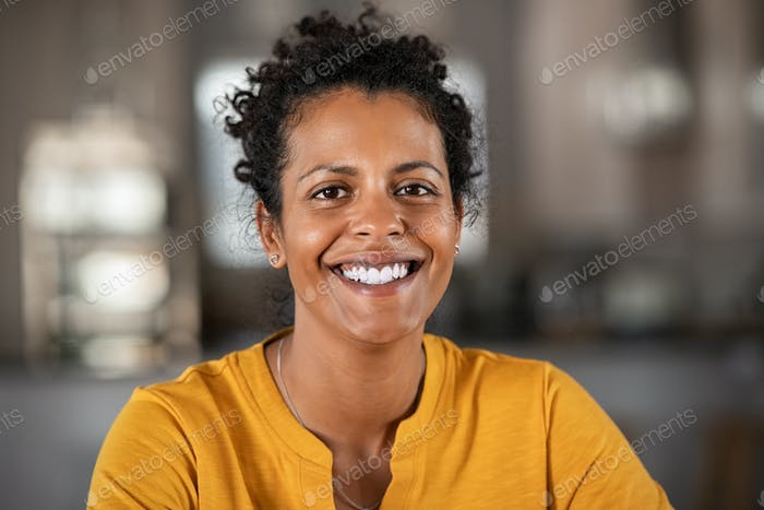 Portrait of happy african woman smiling