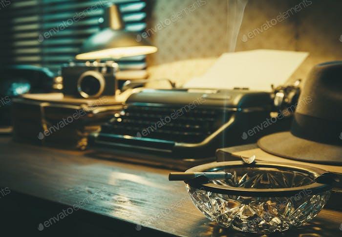 Vintage film noir office desk with old typewriter