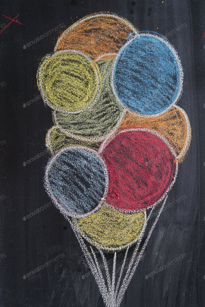 Drawing of colored balloons