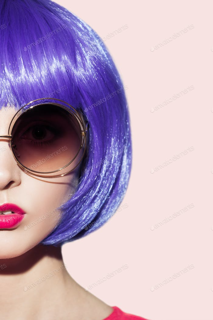 Pop Art Woman Portrait Wearing Purple Wig.