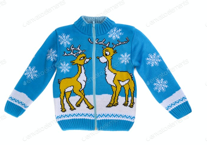 children's knitted sweater with a reindeer