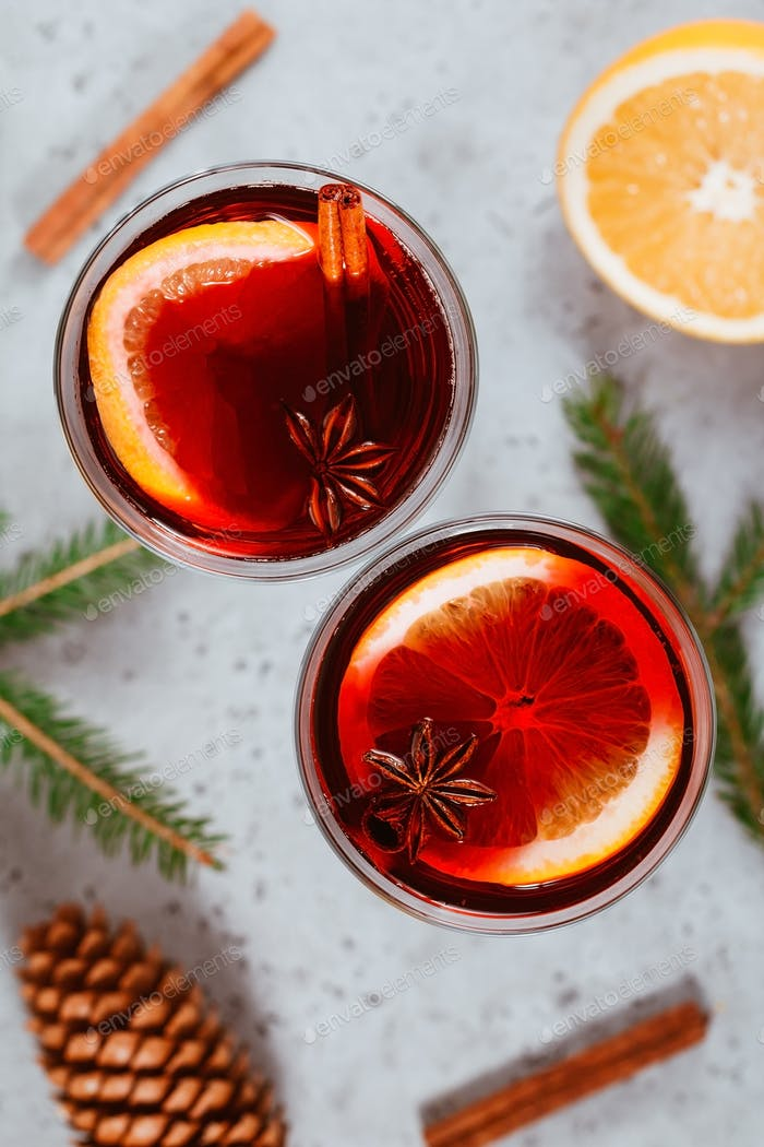 Top view on two glasses with winter Christmas traditional mulled wine