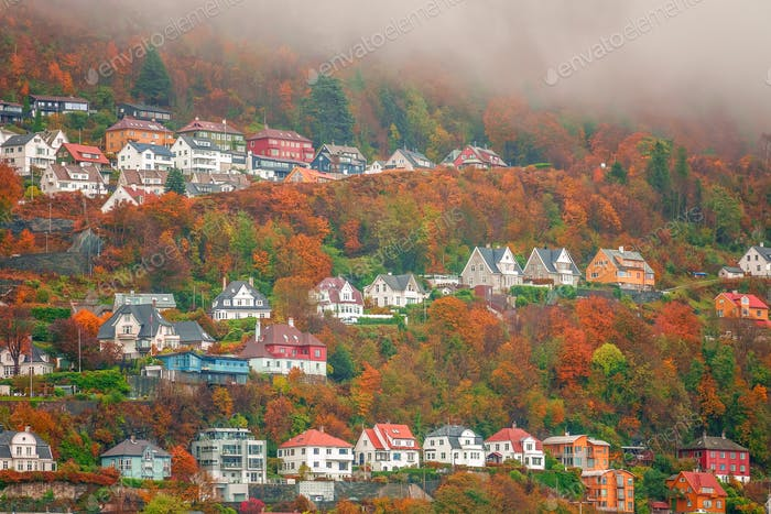 Hillside homes in Bergen in autumn