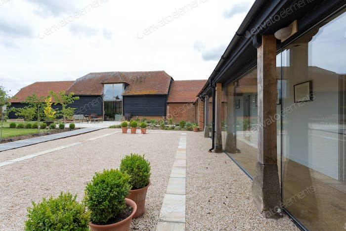 Courtyard of converted barn home