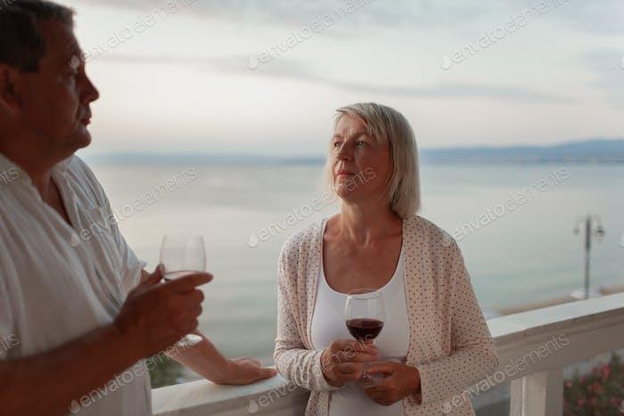 Romantic evening for mature couple