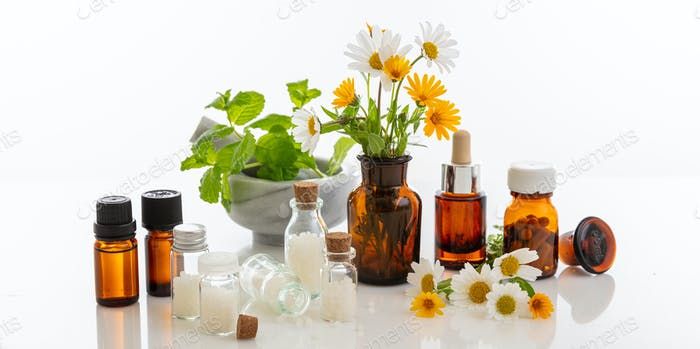Wild flowers and herbs, medical glass containers isolated on white background