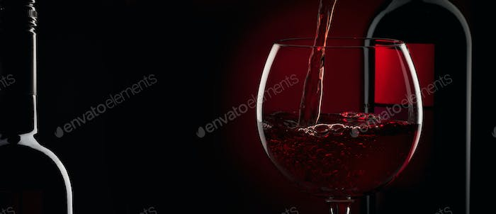 Pouring Red Wine Into The Glass Against Red Black Background Panoramic Banner Photo By 5ph On Envato Elements