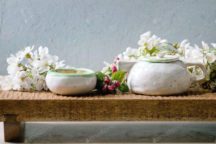 Tea in ceramic teapot