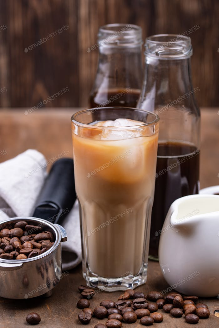 Cold brew coffee with ice and milk