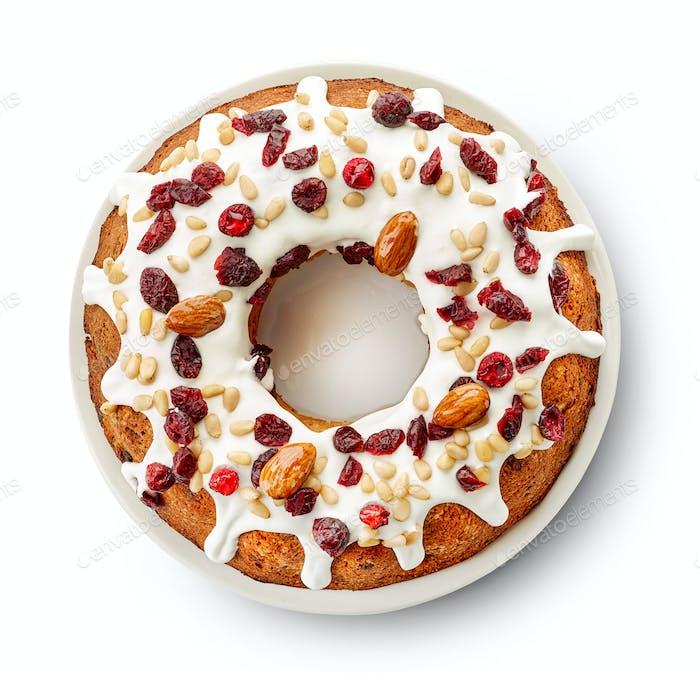 Fruit cake on white background