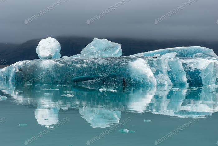Melting icebergs as a result of global warming floating in Jokulsarlon glacial lagoon. Iceland