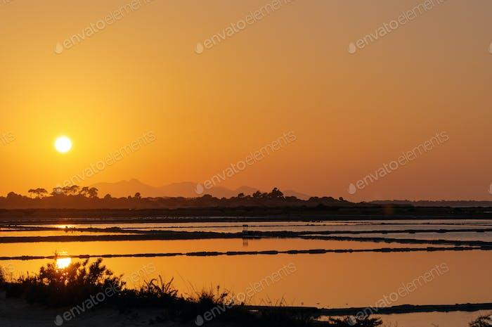 Sunset at the saltpans of Marsala