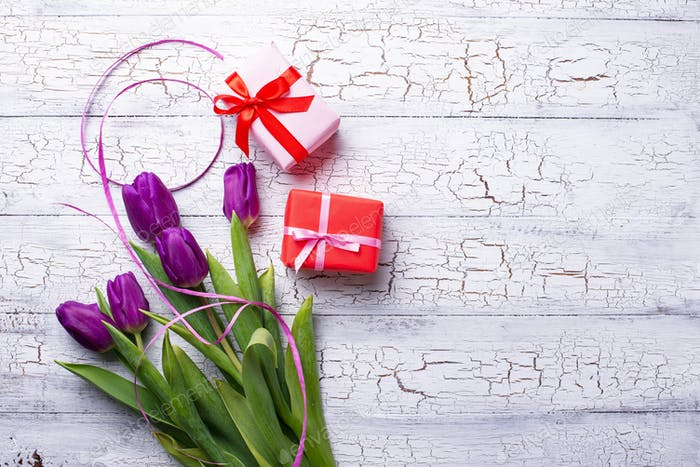 Tulips flowers and gift box