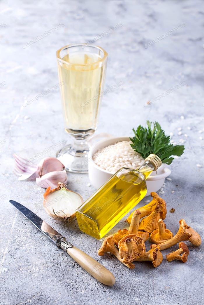 Zutaten für Pilz Risotto