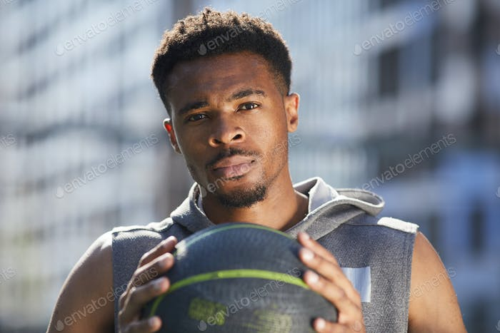 African Basketball Player Looking at Camera