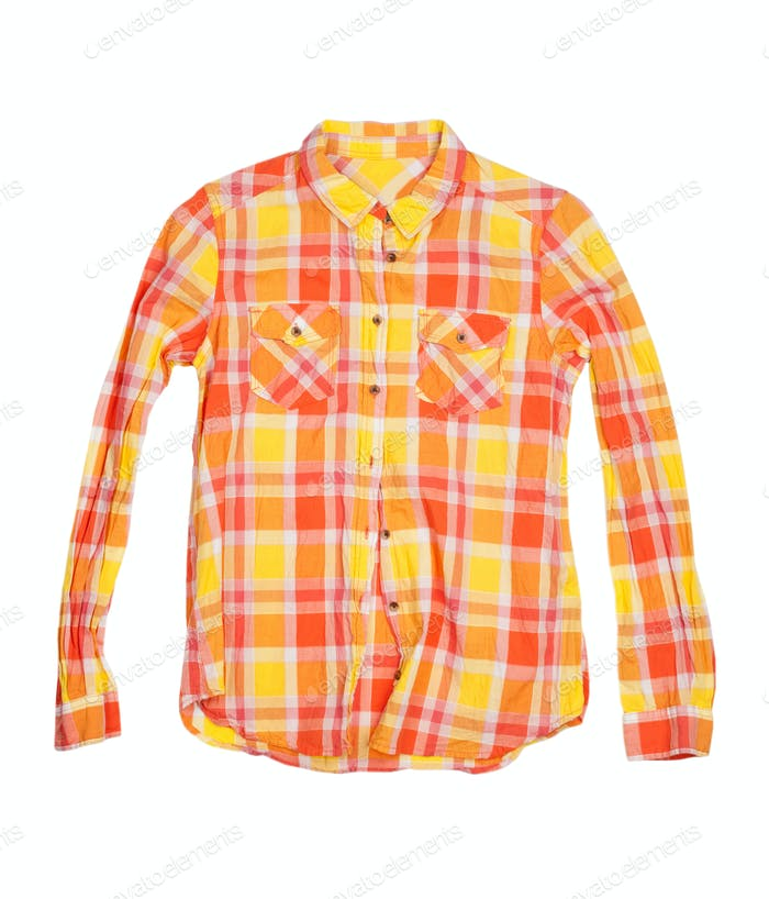orange checkered shirt isolated on white background