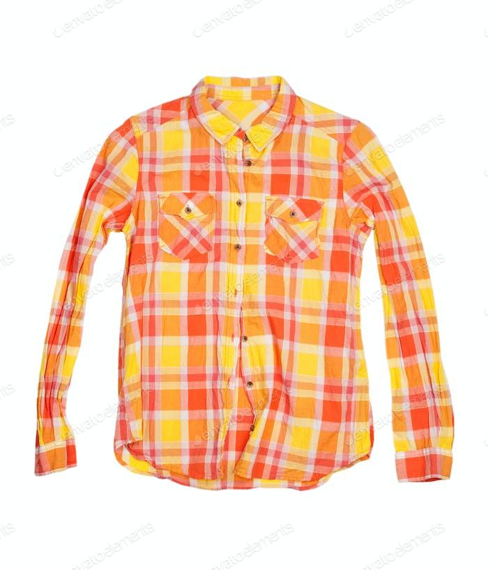 orange kariertes Hemd auf weißem Hintergrund isoliert