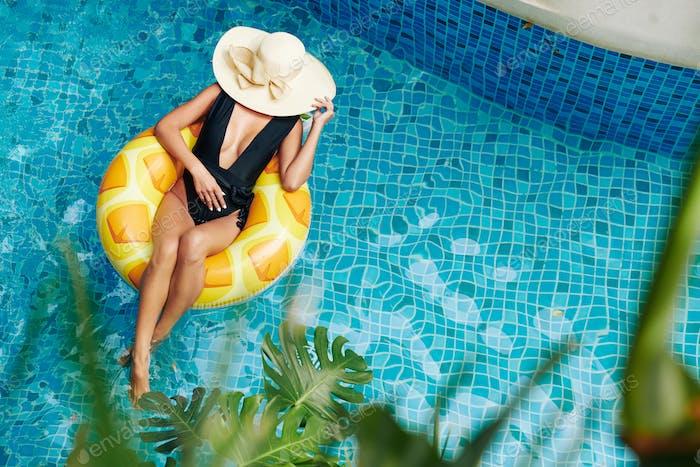 Woman enjoying sunbathing