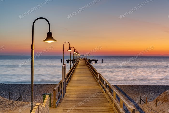 Long pier at the german baltic sea coast