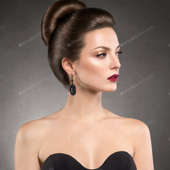 Classic hairstyle evening dress woman old fashion