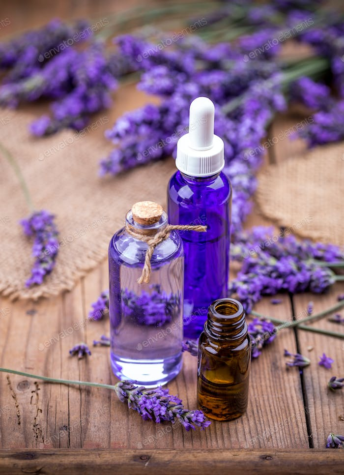 Lavender flowers and essential oils