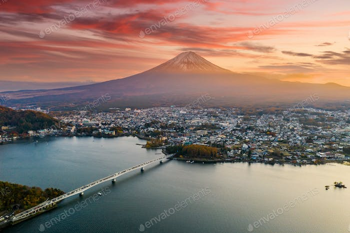 Mt. Fuji in autumn on sunrise at lake Kawaguchiko, Japan.