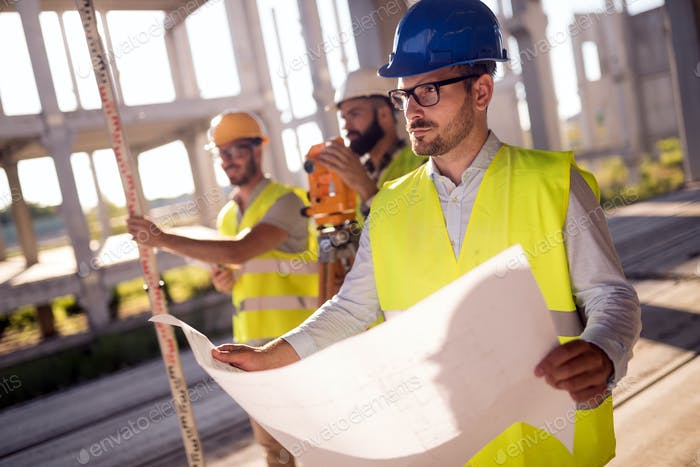 Picture of construction engineer working on building site
