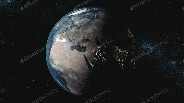 motion graph planet Earth against Milky Way in black space