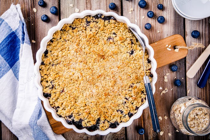 homemade blueberry crumble with oatmeal
